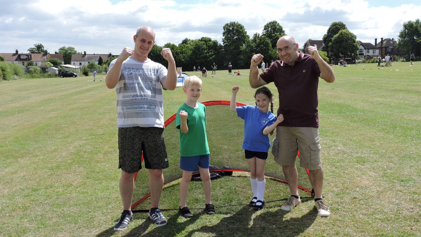 Families enjoyed the football activities together